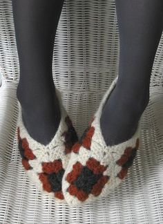 http://www.ravelry.com/patterns/library/felted-granny-slippers  Felted granny slippers by Maria Thorgren-Hansson