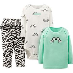 Child of Mine by Carter's Newborn Baby Girl Top, Bodysuit, and Pant 3-Piece Outfit Set