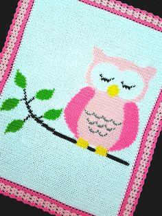 Crochet Patterns - OWL SLEEPING ON A TREE BRANCH Baby Afghan Pattern #KarensCradleCreations #Afghan