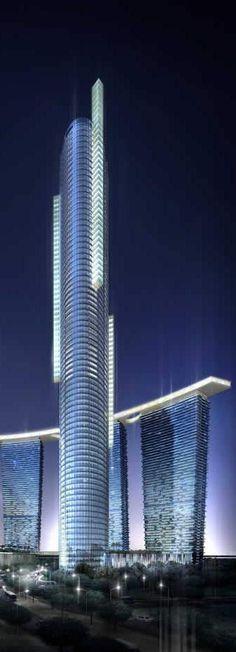 Sky Tower, Abu Dhabi, UAE by Arquitectonica :: 74 floors, height 292m. Más sobre…
