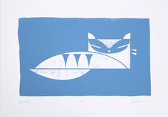 Birorobot - Blue Cat screen print