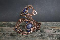 Сopper Bracelet natural stones bracelet by LenaSinelnikArt on Etsy