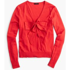 J.Crew Lightweight Wool Bow Sweater ($105) ❤ liked on Polyvore featuring tops, sweaters, red holiday tops, woolen sweater, holiday tops, lightweight sweaters and j crew tops