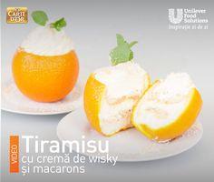 TIRAMISU CU PORTOCALE Macarons, Tiramisu, Pudding, Eggs, Breakfast, Desserts, Food, Morning Coffee, Tailgate Desserts