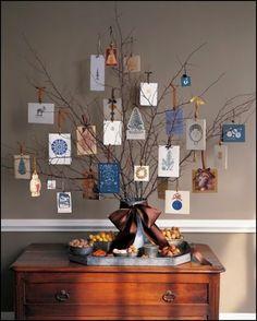 Como hacer un arbol de navidad con ramas, cintas y tarjetas