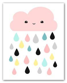 Kawaii Pink Cloud And Colorful Raindrops Wall Art Print For Nursery Or Kids Room
