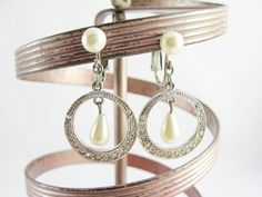Vintage Dangling Silver Rhinestone Hoops with Pearls Clip-On Earrings - Vintage Jewelry with Gift Box by FembyDesign, $23.99