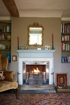 Hampshire Farmhouse Fireplace - We take a look at the work of antique dealer, furniture designer and decorator Max Rollitt- quintessentially English interiors and the best interior designers on HOUSE Fireplace Surrounds, Fireplace Design, Fireplace Ideas, Fireplace Mantels, Best Interior, Interior Design, English Interior, Farmhouse Fireplace, Bedroom Fireplace