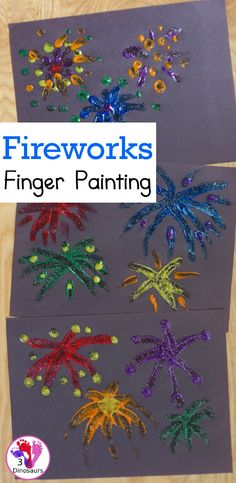 Finger Painting Fireworks with Glitter Paint For Kids | 3 Dinosaurs Fun Arts And Crafts, Fun Crafts, Artists For Kids, Art For Kids, Glitter Paint Craft, Fireworks Art, Fireworks Craft For Kids, Firework Painting, Painting Activities