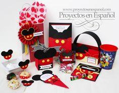 """Set de fiesta para Mickey Mouse.  todos estos proyectos tienen los tutoriales disponibles en la edición de """"Celebraciones"""" en el grupo www.proyectosenespanol.com"""