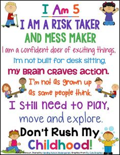 I Am 5 inspirational poster for play-based learning!