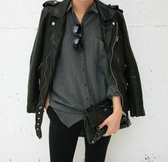 Leather moto jacket and button up