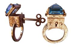 9ct Yellow Gold Engraved Topaz Locking door MetalCoutureJewelry, $3500.00