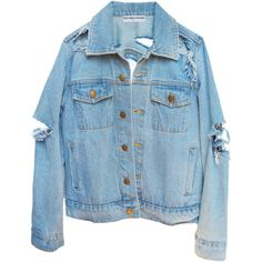 SO RIPPED DENIM JACKET (14510 DZD) ❤ liked on Polyvore featuring outerwear, jackets, tops, denim jackets, denim jacket, distressed denim jacket, blue jean jacket, distressed jacket and blue denim jacket