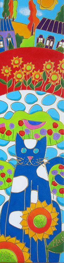 Le chat sur les dalles du jardin par Isabelle Malo • Acrylique sur toile • Folk art  • www.isamalo.com • Artiste peintre du Québec •Art naïf