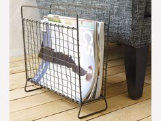 Industrial-rustic magazine stand