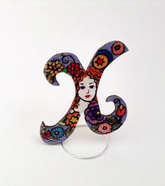 Hand painted personalized wooden brooch jewelry, crystal resin coated, pin finding, Letter X