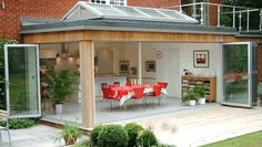BiFold Doors and Marimekko Tablecloth - future extension idea Outdoor Rooms, Outdoor Living, Outdoor Decor, Style At Home, Roof Extension, Extension Google, Extension Ideas, Roof Lantern, Folding Doors