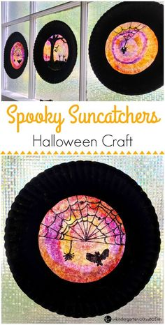Spooky Halloween Sun Catcher Kid Craft - Best of KindergartenThese easy, spooky Halloween sun catchers made from coffee filters are perfect for adding a bit of spooktacular decor to your home or classroom! Halloween Designs, Halloween Tags, Halloween Arts And Crafts, Halloween Activities For Kids, Creepy Halloween, Halloween Themes, Halloween Crafts Kindergarten, Halloween Classroom Decorations, Halloween Art Projects
