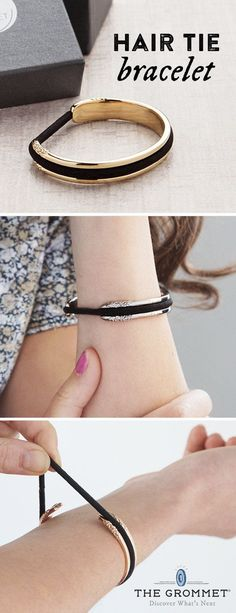 bittersweet's hair tie bracelet, discovered by The Grommet, keeps you looking put together while keeping a hair tie at the ready.