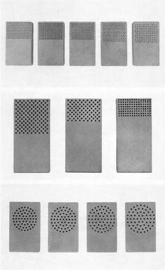 Perforation design exercises by students at the Ulm School for Design. From ulm: Journal of the Ulm School for Design, issue 17/18, June 1966.
