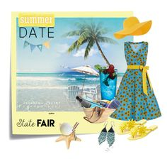 """summerdate and statefair blue - yellow"" by miriamart ❤ liked on Polyvore featuring Post-It, Melissa, Accessorize, statefair and summerdate"