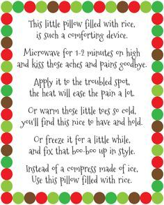 DIY Rice Bag Warmers Poem Printable at artsyfartsymama.com #printable #freeprintable