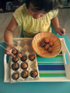 Using tongs to place walnuts in a small muffin pan Best Picture For montessori newborn For Your Tast Motor Skills Activities, Toddler Learning Activities, Montessori Activities, Infant Activities, Kids Learning, Learning Games, Educational Activities, Montessori Classroom, Montessori Toddler