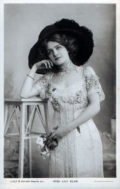 """Lily Elsie in a Lucile designed costume, The Merry Widow.  """"…The triumph of the Merry Widow was also a personal triumph for me, for of all the plays I dressed, and there were many, it was my favourite. 'The Merry Widow Hat, which I designed for Lily Elsie, brought in a fashion which carried the name of """"Lucile,"""" its creator, all of Europe and the States. Every woman who wanted to be in the swim had to have a 'Merry Widow Hat', and we made thousands of pounds through the craze, which laste"""