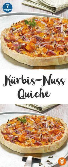 Pumpkin Nut Quiche Recipe WW Germany - Delicious pumpkin and nut quiche, 7 SmartPoints Quiche Recipes, Tart Recipes, Snack Recipes, Dinner Recipes, Plats Weight Watchers, Weight Watchers Meals, Tasty, Yummy Food, Pumpkin Recipes