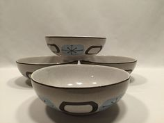 222 fifth Atomica Blue Coupe Soup Cereal Bowls Stoneware 6 1/2″ Set of 4 #222Fifth
