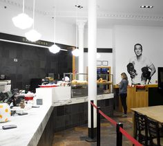 LEMAYMICHAUD   INTERIOR DESIGN   ARCHITECTURE   QUEBEC   CAFE   RESTAURANT   BAKERY   Café-boulangerie Paillard Café Restaurant, Conference Room, Architecture, Table, Furniture, Design, Home Decor, Bakery Cafe, Homemade Home Decor