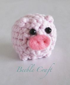 Beeble Pig Crochet micro pig with beads for eyes and pink felt snout 5cm diameter
