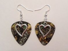 Mossy Oak Camo Camouflage guitar pick earrings with heart charm country love camo jewelry on Etsy, $7.00
