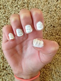 Newspaper nails! With water! Directions: Cut 10 pieces of newspaper out, pour room temperature water into bowl, paint your nails with a white or light gray nail polish, put one of the pieces of newspaper in the water for 5 seconds, take it out, and place it on your nail then push it on your nail for 30 seconds! Keep doing that on each nail. At the end put a Top Coat on your nails to keep the newspaper print from rubbing off! They turn out really cool! Enjoy:) Grey Nail Polish, Gray Nails, Newspaper Nails, Newspaper Printing, 30 Seconds, Top Coat, You Nailed It, Diamond Earrings, Paint