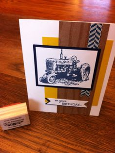 Items similar to Tractor Birthday Card - Handmade Stamped - Stampin Up on Etsy