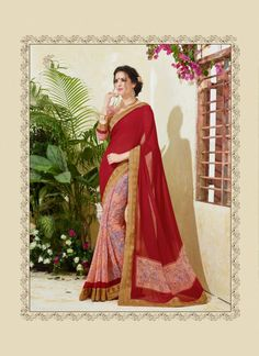 Compelling Print Work Red Casual Saree