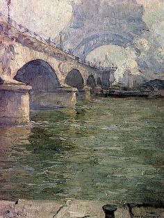 River Seine, Pont d'Ilena and Eiffel Tower by Emile Gruppe (American 1896–1978) Oil on Canvas.