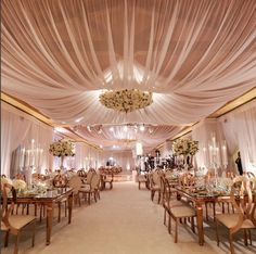 Bloom Box Designs, wedding reception, indoor wedding, draping, The Resort at Pelican Hill, Shine Lighting, West Coast Music, gold and pink, luxury wedding, centerpieces, floral design company, featured on LoveLuxeLife, see more at www.loveluxelife.com, #loveluxelife