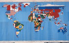 Alighiero Boetti tapestry maps, each country colored in with it's corresponding map