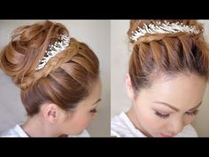 Winter Formal Bridal Updo Hair Tutorial - using french braid in front, sponge bun up top, and decorative headband or necklace.