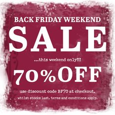 Launching our Black Friday Weekend Sale. 70% off our full price range. This weekend only!!! Use discount code BF70 at the checkout. #blackfriday #sale #onebutton #jewellery #scarves #accessories