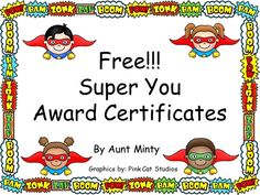 Awesome, adaptable award certificates for any occasion: end of the year, weekly… End Of School Year, Beginning Of School, End Of Year, First Day Of School, Superhero Classroom Theme, Classroom Themes, Superhero Preschool, Superhero Ideas, Classroom Tools