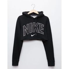Jumpsuit: sweater nike crop nike black black sweater cropped sweater... ❤ liked on Polyvore featuring tops, crop top, nike, nike top and cut-out crop tops