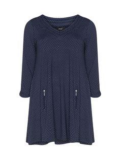 Gepunktetes Longshirt  in Dunkel-Blau / Weiß designed von Zhenzi in der Kategorie Shirts bei navabi.de