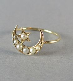BEAUTIFUL delicate antique Victorian seed pearl moon and star ring, antique engagement ring, promise ring, stacking ring, delicate gold ring