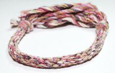 Chunky Fiber Bracelet Kumihimo Pink Purple Flecked Yarn Jewelry