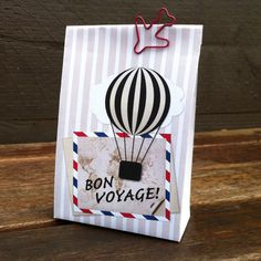 Bon Voyage Gift Bag Template, create beautiful bags from a folded page. Printable design, PDF. Bon Voyage, farewell party, favors, balloon.