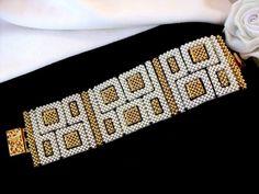 Beaded bracelet - nice use of negative space between CRAW segments Loom Bracelet Patterns, Bead Loom Bracelets, Bead Loom Patterns, Beading Patterns, Beads Jewelry, Beaded Jewelry Designs, Diy Jewelry, Jewelry Ideas, Crystals
