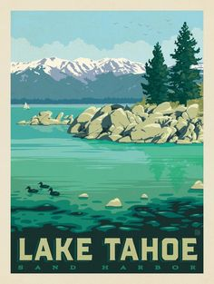 Trendy Ideas For Vintage Posters California Lake Tahoe Retro Poster, Art Deco Posters, Vintage Travel Posters, Lake Tahoe Camping, Lake Tahoe Summer, Spring Lake, Party Vintage, Vintage Ski, Wedding Vintage
